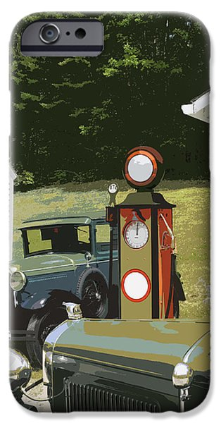Model Digital Art iPhone Cases - Model A Ford And Old Gas Station Illustration  iPhone Case by Keith Webber Jr