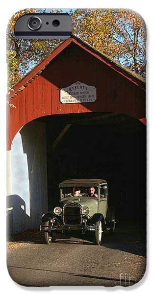 Nineteenth iPhone Cases - Model A Ford at Knechts Bridge iPhone Case by Anna Lisa Yoder