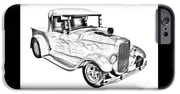 Model Digital Art iPhone Cases - Model A Ford Pickup Hotrod Illustration iPhone Case by Keith Webber Jr