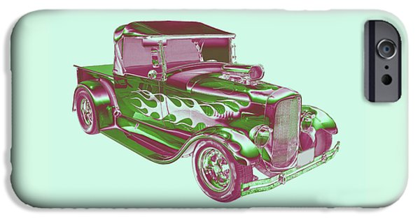Model Digital Art iPhone Cases - Model A Ford Pickup Hotrod. iPhone Case by Keith Webber Jr