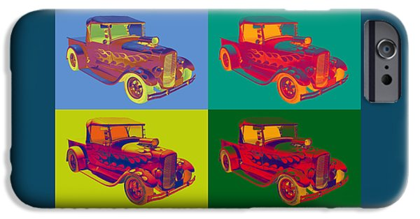 Model Digital Art iPhone Cases - Model A Ford Pickup Hotrod Pop Art. iPhone Case by Keith Webber Jr