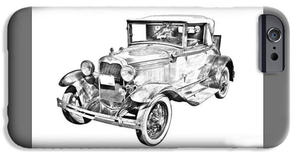 Model Digital Art iPhone Cases - Model A Ford Roadster Antique Car Illustration iPhone Case by Keith Webber Jr
