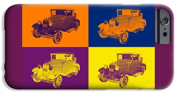Model Digital Art iPhone Cases - Model A Ford Roadster Convertible Antique Car iPhone Case by Keith Webber Jr