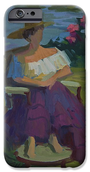 Model Paintings iPhone Cases - Model at Martha Lake iPhone Case by Diane McClary