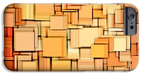Orange Digital Art iPhone Cases - Modern Abstract XVI iPhone Case by Lourry Legarde