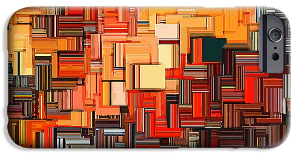 Tangerine iPhone Cases - Modern Abstract XXXIV iPhone Case by Lourry Legarde