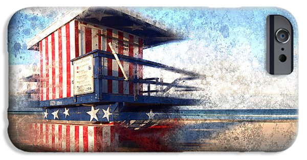 Photomontage iPhone Cases - Modern-Art MIAMI BEACH Watchtower iPhone Case by Melanie Viola