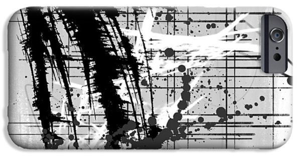 Abstract Digital Mixed Media iPhone Cases - Modern Black and White iPhone Case by Melissa Smith