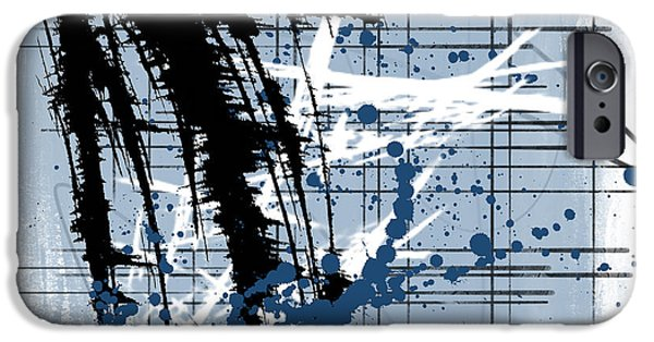 Abstract Digital Mixed Media iPhone Cases - Modern Blue iPhone Case by Melissa Smith