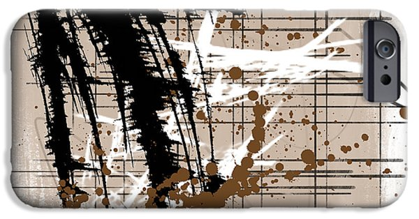 Abstract Digital Mixed Media iPhone Cases - Modern Brown iPhone Case by Melissa Smith