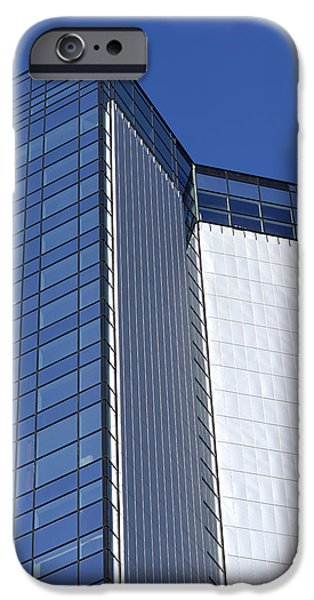 Facade Mixed Media iPhone Cases - Modern building in blue sky iPhone Case by Toppart Sweden
