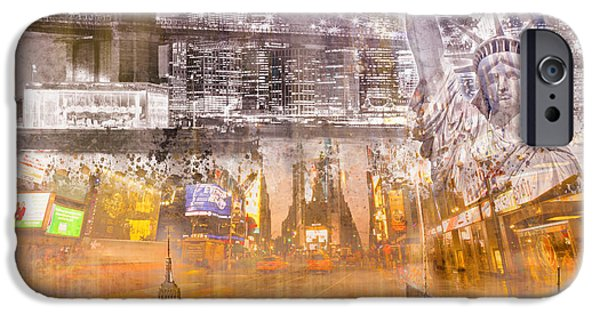 Evening Digital Art iPhone Cases - Modern NYC Composing purple/orange iPhone Case by Melanie Viola