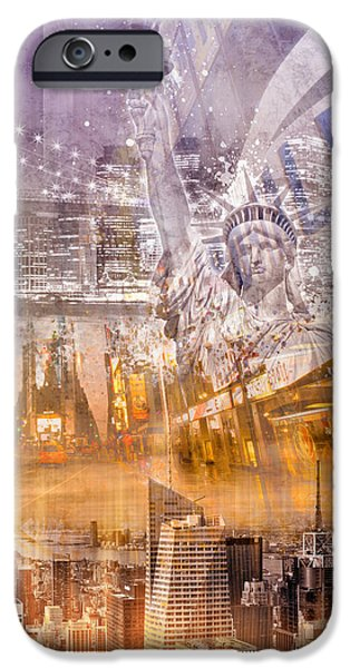 Brooklyn Bridge Digital Art iPhone Cases - Modern NYC Composing purple/orange iPhone Case by Melanie Viola
