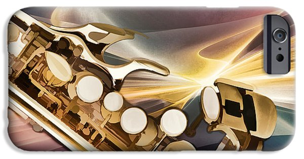 Sopranos iPhone Cases - Modern Soprano Saxophone Painting in Color 3345.02 iPhone Case by M K  Miller