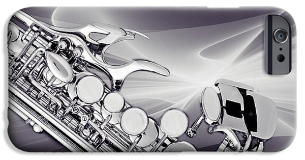 Sopranos iPhone Cases - Modern Soprano Saxophone Photograph in Sepia 3344.01 iPhone Case by M K  Miller