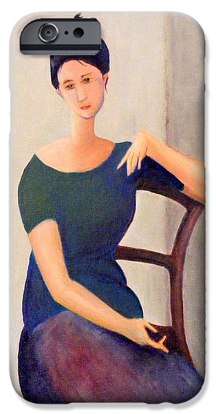 Portraits Jewelry iPhone Cases - Modigliani woman iPhone Case by Barbara Jacquin