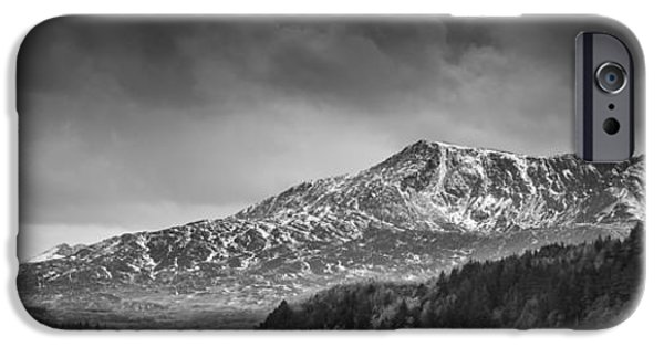 Drama iPhone Cases - Moel Siabod Black and White Panorama iPhone Case by Christine Smart