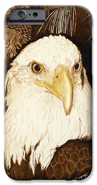 Patriots Pyrography iPhone Cases - Moes Eagle iPhone Case by Laurisa Borlovan