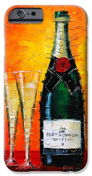 Glass Table Reflection iPhone Cases - Moet Et Chandon I iPhone Case by Mona Edulesco