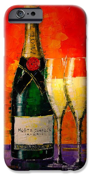 Glass Table Reflection iPhone Cases - Moet Et Chandon Ii iPhone Case by Mona Edulesco
