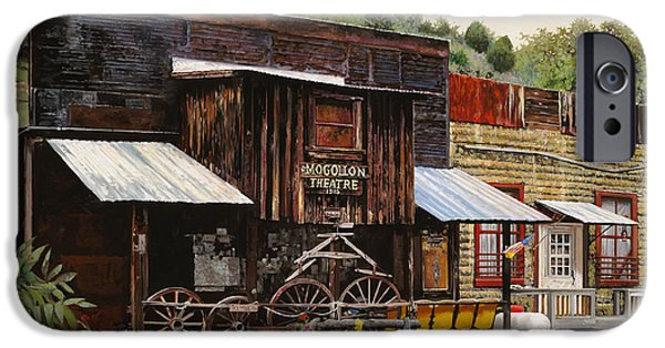 Rusty iPhone Cases - Mogollon-Theatre-New Mexico  iPhone Case by Guido Borelli