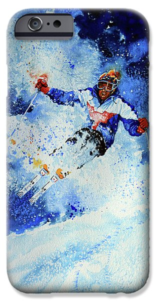 Skiing Action Paintings iPhone Cases - Mogul Mania iPhone Case by Hanne Lore Koehler