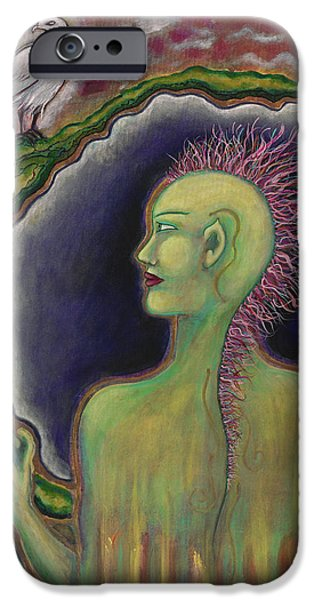 Merging Paintings iPhone Cases - Mohawk Warrior Woman iPhone Case by Annette Wagner