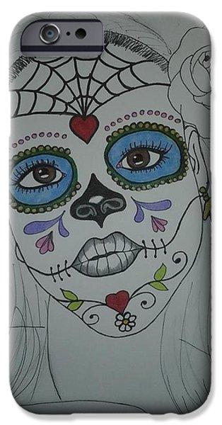 Diy Drawings iPhone Cases - Moi iPhone Case by Elizabeth Cadena