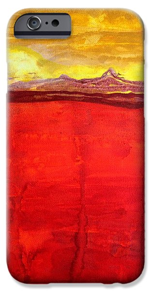 Printmaking iPhone Cases - Mojave Dawn original painting iPhone Case by Sol Luckman