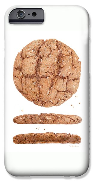 Snack Drawings iPhone Cases - Molasses Cookie iPhone Case by Paula Pertile