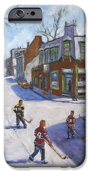 Hockey Paintings iPhone Cases - Molasses Town Hockey Rivals in the Streets of Montreal by Pranke iPhone Case by Richard T Pranke