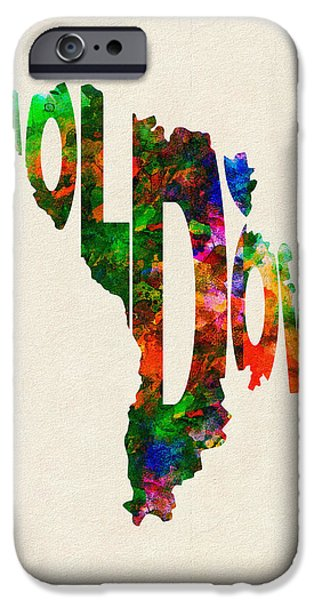 Abstract Map Digital Art iPhone Cases - Moldova Typographic Watercolor Map iPhone Case by Ayse Deniz