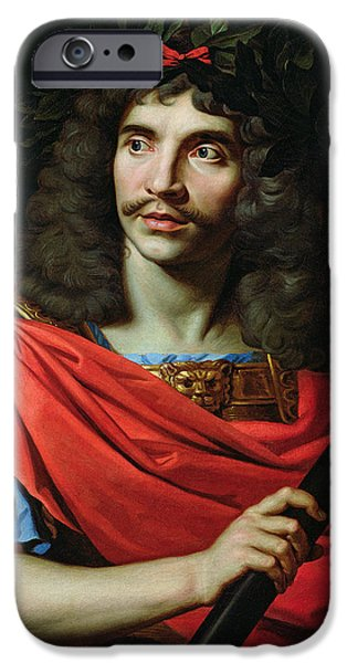 Character Portraits Photographs iPhone Cases - Moliere In The Role Of Caesar In The Death Of Pompey Oil On Canvas iPhone Case by Nicolas Mignard