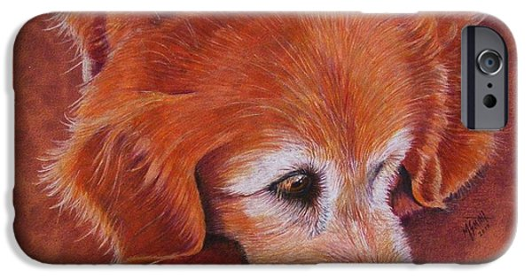 Rust Drawings iPhone Cases - Mollie iPhone Case by Marilyn Smith