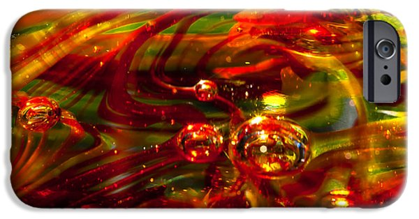 Glass Reflections iPhone Cases - Molten Bubbles iPhone Case by David Patterson