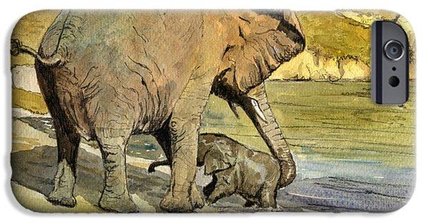 Elephants iPhone Cases - Mom and cub elephants having a bath iPhone Case by Juan  Bosco