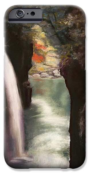 Autumn Landscape Pastels iPhone Cases - Moment of Eternity - Takachiho Falls iPhone Case by Marie-Claire Dole