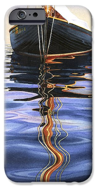 Sailboat iPhone Cases - Moment of Reflection VI iPhone Case by Marguerite Chadwick-Juner