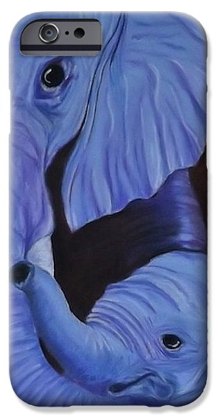 Elephants Pastels iPhone Cases - Momma iPhone Case by Karen Alber