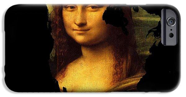 Madonna Digital Art iPhone Cases - Mona Lisa  North America iPhone Case by John Clark