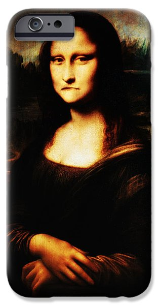 Smiling Mixed Media iPhone Cases - Mona Lisa Take One iPhone Case by Bill Cannon