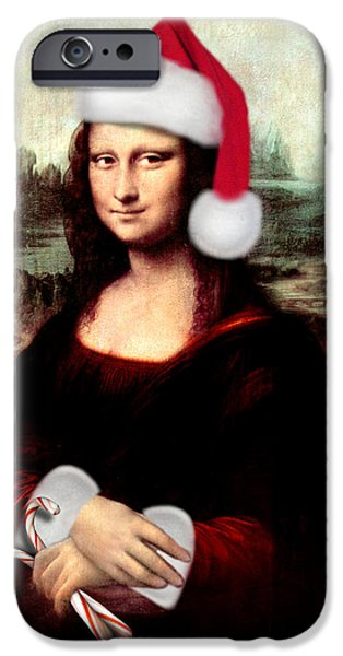 Spoof iPhone Cases - Mona Lisa With Santa Hat iPhone Case by Gravityx9  Designs