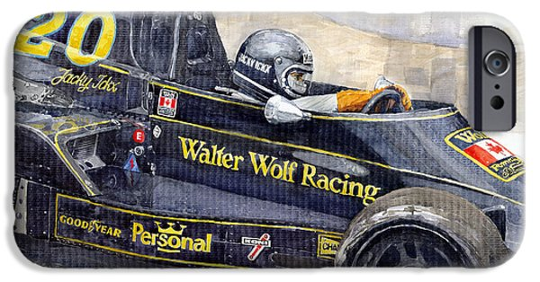 Racing iPhone Cases - Monaco 1976 Wolf Wiliams FW05 Jacki Ickx iPhone Case by Yuriy Shevchuk