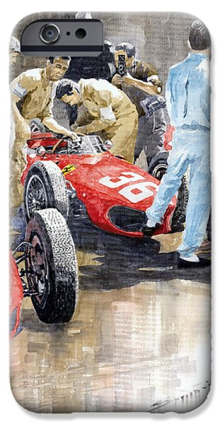 Racing iPhone Cases - Monaco GP 1961 Ferrari 156 Sharknose Richie Ginther iPhone Case by Yuriy Shevchuk