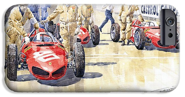 Racing iPhone Cases - Monaco GP 1961 Ferrari 156 Sharknose  iPhone Case by Yuriy  Shevchuk