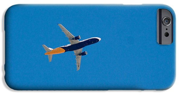 United Airlines Passenger Plane iPhone Cases - Monarch Airbus A320 landing at Gibraltar iPhone Case by Jan Mika