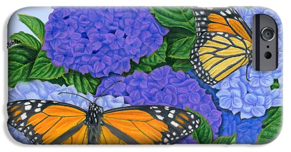 Plant Drawings iPhone Cases - Monarch Butterflies And Hydrangeas iPhone Case by Sarah Batalka