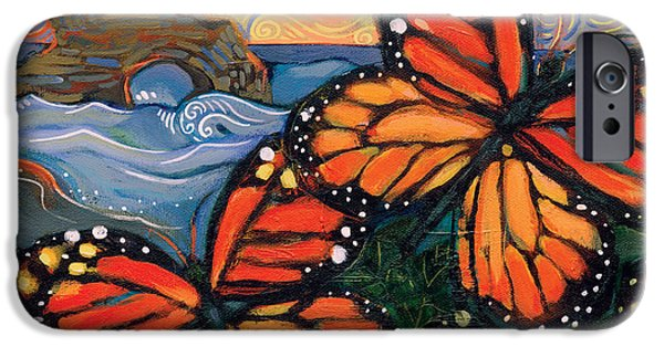 Santa Cruz iPhone Cases - Monarch Butterflies at Natural Bridges iPhone Case by Jen Norton