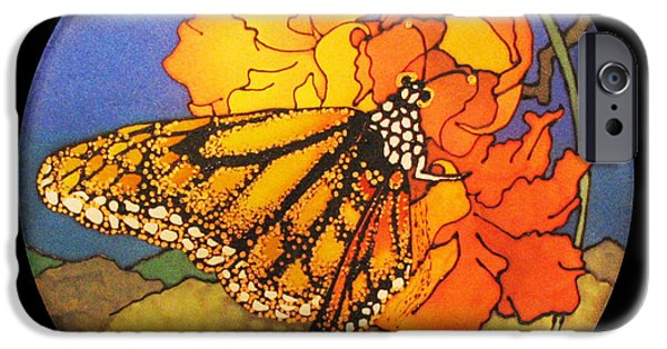 Insects Tapestries - Textiles iPhone Cases - Monarch Butterfly iPhone Case by Annelle Woggon