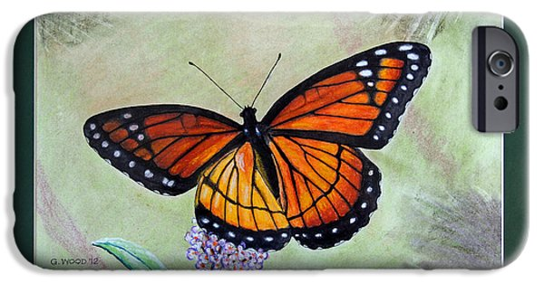 Stripes Pastels iPhone Cases - Viceroy Butterfly by George Wood iPhone Case by Karen Adams